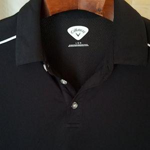 L Callaway Polo Shirt Golf Black 100% Poly